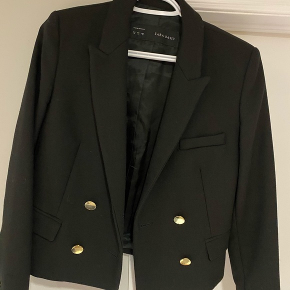 Zara Cropped Military Jacket with gold buttons